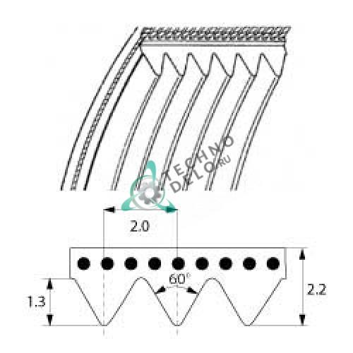 Ремень TB2-598 (12 ручейков) для слайсера, картофелечистки, куттера и др. Фото: 0
