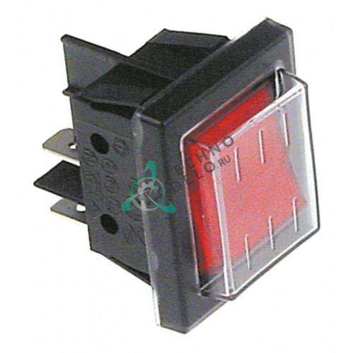 Выключатель балансирный красный 2NO 250В 16А A017615 / DLX30026 для Bartscher, Inoksan, Mecnosud, RSI и др.