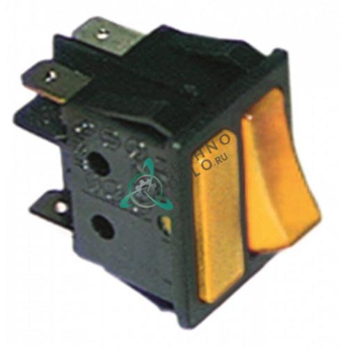 Выключатель балансирный двойной оранжевый монтаж 30x22мм (2NO 250В 16А)