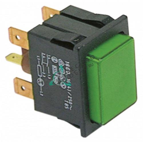 Выключатель кнопка монтажные размеры 30x22 мм зелён. 2NO/лампа 250В