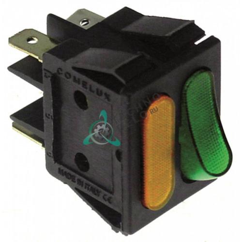 Переключатель 1CO/лампа оранжев./зелён. 250V 16A IP40 30x22мм 6640421, 995516, FR6640421 для Friulinox