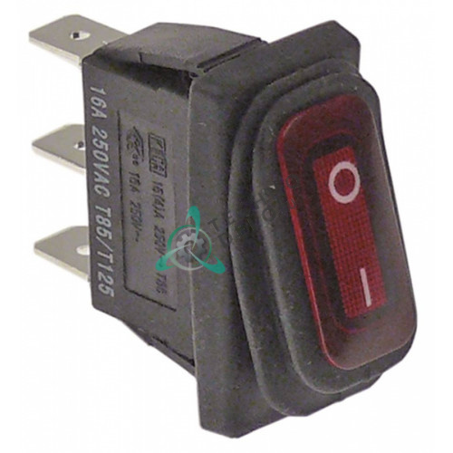 Выключатель балансирный красный монтаж 30x11мм с сильфоном (1NO 230В 16А)