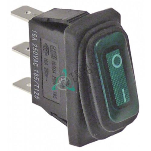 Выключатель балансирный зеленый монтаж 30x11мм с сильфоном (1NO 230В 16А)