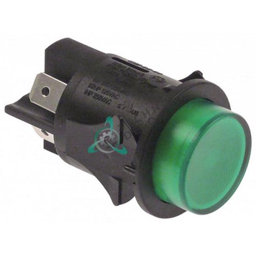 Кнопка зеленая монтаж ø25мм (2NO 250В 16А) с подсветкой