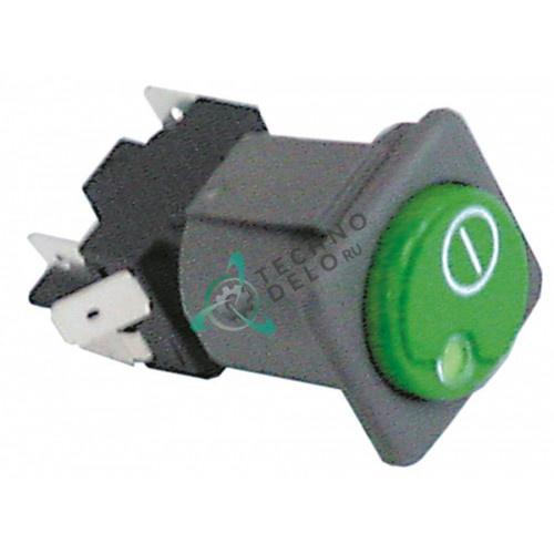 Кнопка ON-OFF зелёная 2CO 250В 130460 для посудомоечной машины Comenda, Hoonved, Mareno