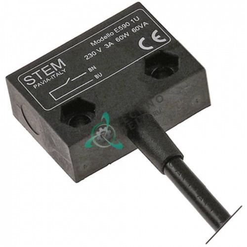 Выключатель электромагнитный 1NO 230В 3А 60Вт кабель L-2000мм 36x26мм 049966 для Electrolux, Zanussi и др.