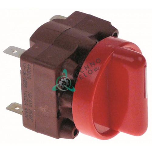 Выключатель Gottak 4RH 0-1 250В 16А ось ø6x4,6мм для Sammic E-1000 (арт. 2309182)