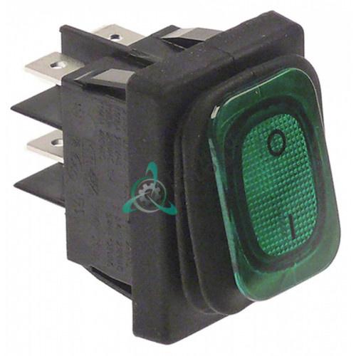 Выключатель балансирный зелёный 2NO 250В 30x22мм защита IP65 205426 для Hendi 221204, Horeca-Select и др.