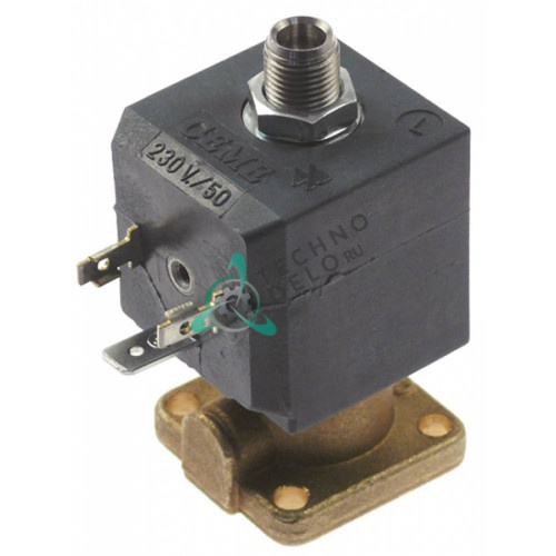 Клапан электромагнитный CEME 62 230VAC L-34 мм температура макс. 150°C катушка 688 латунь фланец 32x32 мм