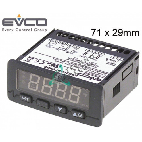 Контроллер EVCO EVK203N7VXBS 71x29мм 230VAC датчик NTC/PTC 3 реле 3048060 3096600 3106300 для Angelo-Po, Polaris, SAGI и др.