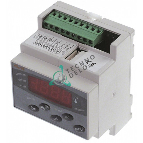 Контроллер Eliwell EWDR985 DR34DI0TCD700 70x85мм 230VAC датчик NTC/PTC 4 реле диапазон -55 до +150°C