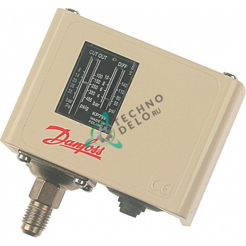 Прессостат Danfoss KP7W60-1190 HD 4-10бар диапазон 8-32бар 7/16 UNF (1/4 SAE) для холодильного оборудования
