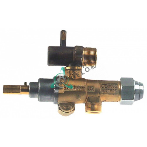Кран газовый (аналог) EGA GPEL21R M15x1 трубка ø10 мм дюза ø0,35мм 5018918655 M10x1 ось 8x6,5мм для Ambach, Krefft
