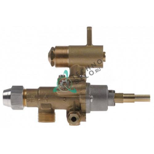 Кран газовый (аналог EGA) GPEL22D M18x1,5 трубка ø12мм дюза ø1,6/ø0,8/ø0,35мм M8x1 M10x1 ось 9x6,5мм для плиты
