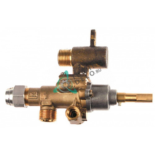 Кран газовый (аналог EGA) GPEL22R M18x1,5 трубка ø12мм дюза ø0,35мм M18x1,5 M8x1 M10x1 ось 9x6,5мм 94413 для Heidebrenner