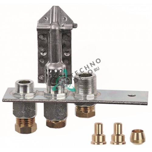 Горелка Polidoro 22/27-2 3-х пламенная природный/сжиженный газ 6мм 40021130 для плиты Lincar G0032/G0033/G0034 и др.