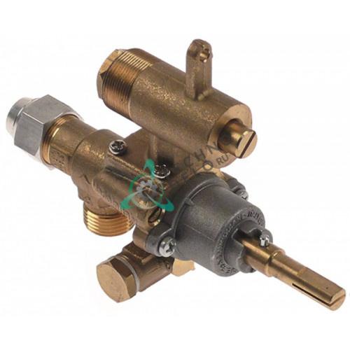 Кран газовый (аналог EGA) GPEL22D M18x1,5 трубка ø12мм дюза ø2/ø1,3/ø0,55мм M22x1 M8x1 ось 9x6,5мм 94444 для Heidebrenner