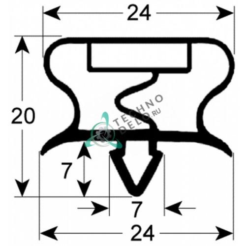 Уплотнитель 374x689мм 638201 / S201P11 профиль 9195 для холодильного оборудования Bonnet и др.